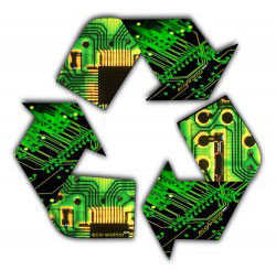 A recycling symbol modified to indicate electronics.