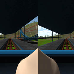 A screenshot from an application in which the user rides a roller coaster.