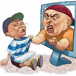 Artist's representation of cyberbullying.