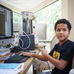 "Donovan Romero-Brathwaite, 10-year-old creator of the videogame ""Gunman Taco Truck."""