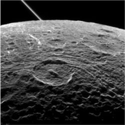 Saturn's moon Dione from Cassini