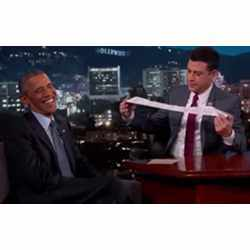 Talk show host Jimmy Kimmel and U.S. President Barack Obama discussing excessively long paper receipts.