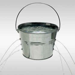 A leaky bucket, representing a leaky database.