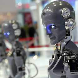 Robots on display at an industry fair in Shanghai in November.