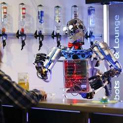 A robot bartender on the job.