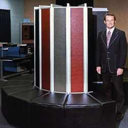 Seymour Cray with the Cray-1 (1976).