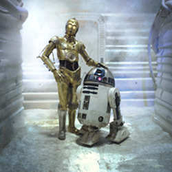 """I am C-3PO, human-cyborg relations. And this is my counterpart R2-D2."""