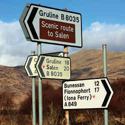 Road signs in Scotland.
