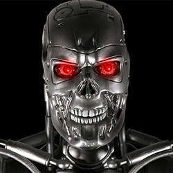 A Terminator robot, from the Terminator movie series.