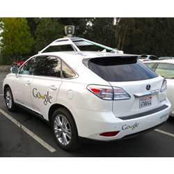 One of Google's fleet of Lexus RX450h self-driving SUVs.