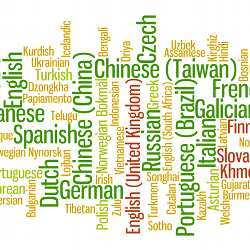 A word cloud of languages.