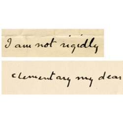 The handwriting of author Arthur Conan Doyle, above, and a computer's mimicking of his writing style.