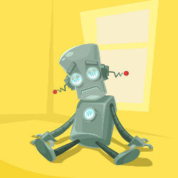 tired robot, illustration