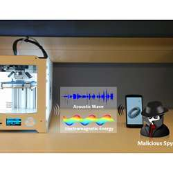 Illustration of a smartphone hacking a 3-D printer.