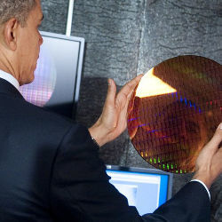 Obama holding semiconductor wafer