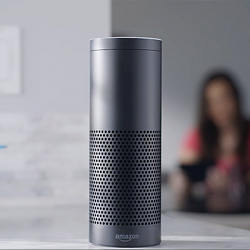 Amazon's Echo wireless speaker, which connects to Amazon's Voice Service.