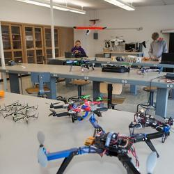 Students work on their projects in the University of Cincinnati's drone lab