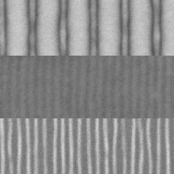 These scanning electron microscope images show the sequence of fabrication of fine lines by the new method.