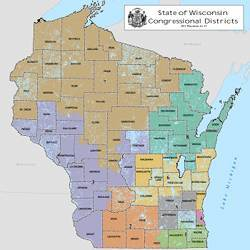 A map of Wisconsin's Congressional districts.