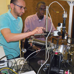 Assistant professor Sidy Ndao (right) and graduate student Mahmoud Elzouka have created a thermal diode that will allow computers to use heat as an energy source.