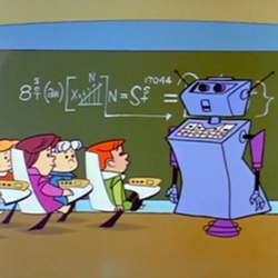 "A robot teacher, as envisioned by the TV show ""The Jetsons."""