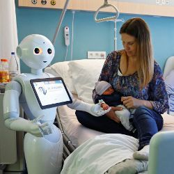 robot with mom and baby