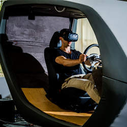 A driving simulator at the Toyota Research Institute.