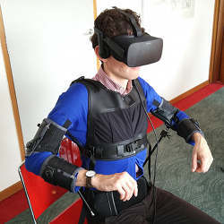 The virtual reality headset/jacket system.