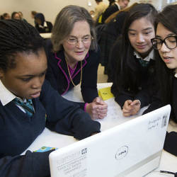 Girls learning to code.