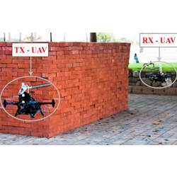 Two drones fly outside an structure to collect Wi-Fi RSSI measurements for through-wall imaging.