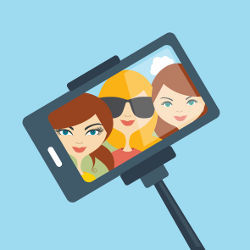 girls in selfie, illustration