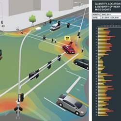 A screenshot from software used by the Video Analytics Towards Vision Zero program.