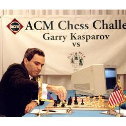 Garry Kasparov in 1996, playing chess with IBM's Deep Blue computer.