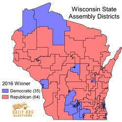 A map of Wisconsin's state assembly districts.