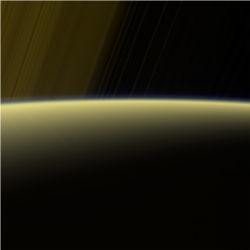 Saturn rings sunlit horizon