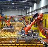 Industrial robots on an assembly line.