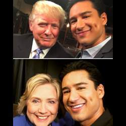 Entertainer Mario Lopez in his selfies with Hillary Clinton and Donald Trump.