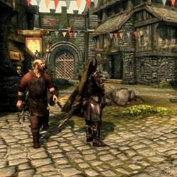 A scene from the Skyrim open world action role-playing video game.