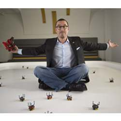 Magnus Egerstedt, executive director for the Institute for Robotics and Intelligent Machines at the Georgia Institute of Technology, in the new Robotarium.