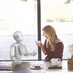 Having a chat with a robot.