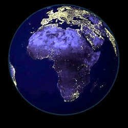 Africa at night, as seen from space.