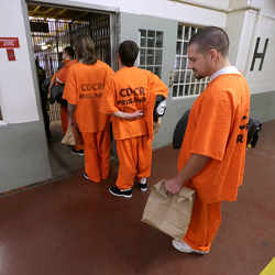 Inmates awaiting housing assignments.