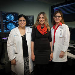 From left, Manisha Bahl, director of the Massachusetts General Hospital Breast Imaging Fellowship Program; MIT professor Regina Barzilay, and Constance Lehman, professor at Harvard Medical School.