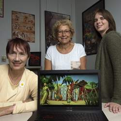Sankofa's creators are, from left, history professor Patricia Seed, computer science professor Magda El Zarki, and computer game designer Jessica Kernan.