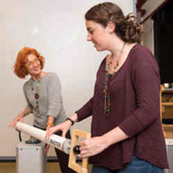 Northeastern University professor Dagmar Sternad (left) examines the subtleties of human movement and how they play into our physical interactions with robots.