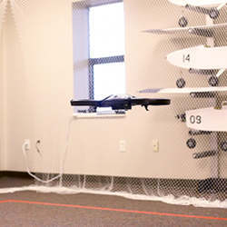 A mind-controlled drone hovers.