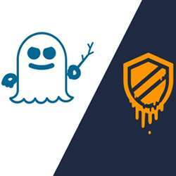 Logos of the Spectre and Meltdown security flaws.