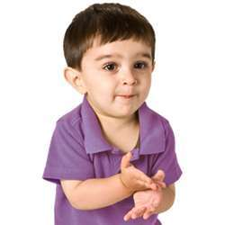 A deaf child using sign language.