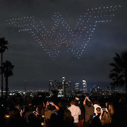 A light show performed by drones.
