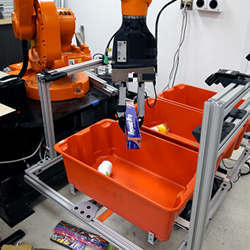 A pick-and-place robot sorts items into different bins.